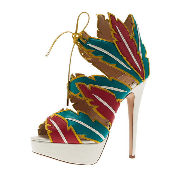 Charlotte Olympia Multicolor Leather Cherokee Platform Sandals Size 38