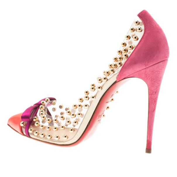 Christian Louboutin Studded PVC Bille Et Boule Bow Pumps Size 38.5