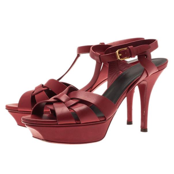 Saint Laurent Paris Red Leather Tribute Platform Sandals Size 37.5