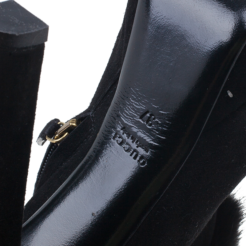 Gucci Black Suede and Fur Trim Ankle Boots Size 37
