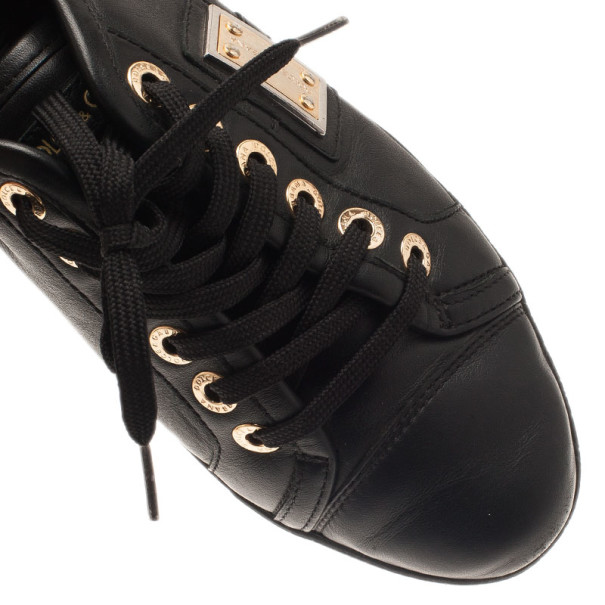 Dolce and Gabbana Black Leather Logo Plaque Sneakers Size 37.5