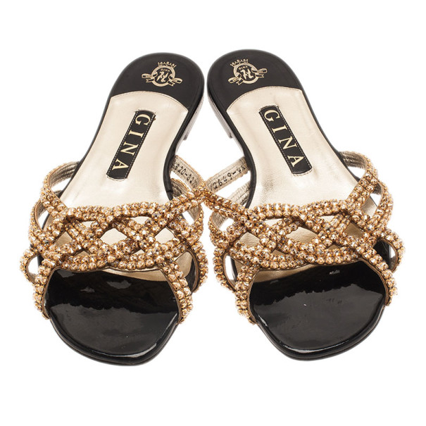 Gina Gold Jewled Flat Sandals Size 37.5
