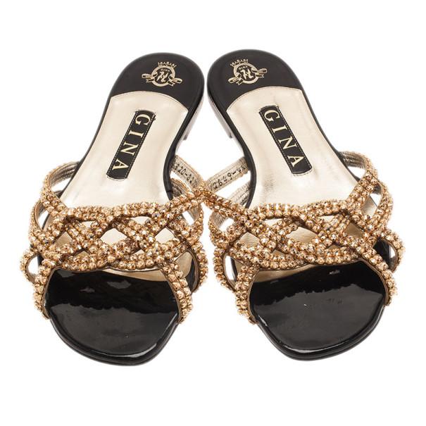 Gina Gold Jewled Flat Sandals Size 37.5