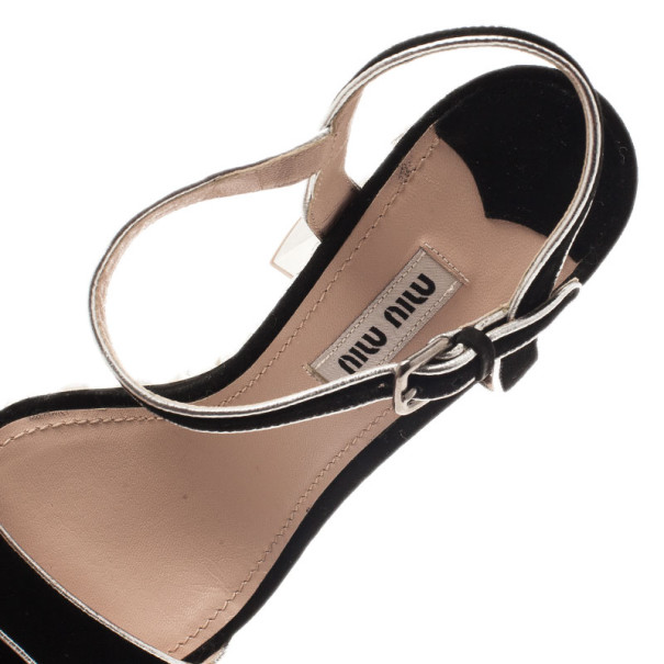 Miu Miu Black Suede Jeweled Ankle Strap Sandals Size 37.5