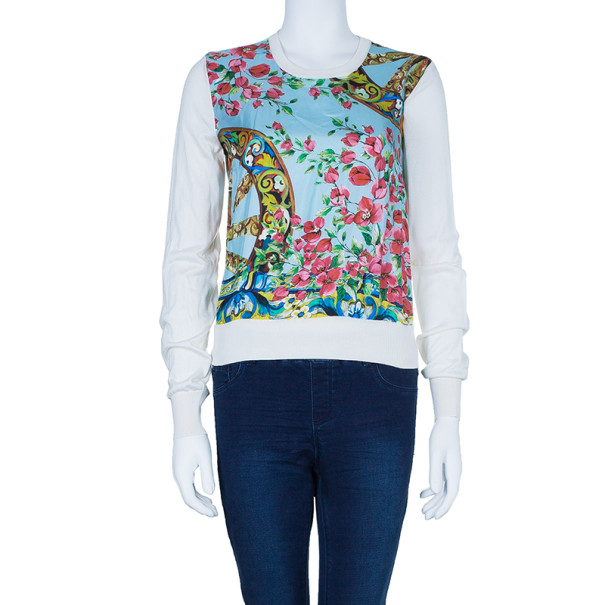 Dolce and Gabbana Floral Printed Silk Knit Jumper M