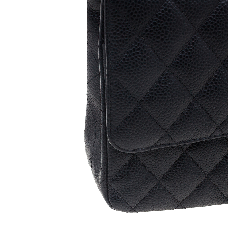 Chanel Black Caviar Leather Quilted Double Flap Shoulder Bag