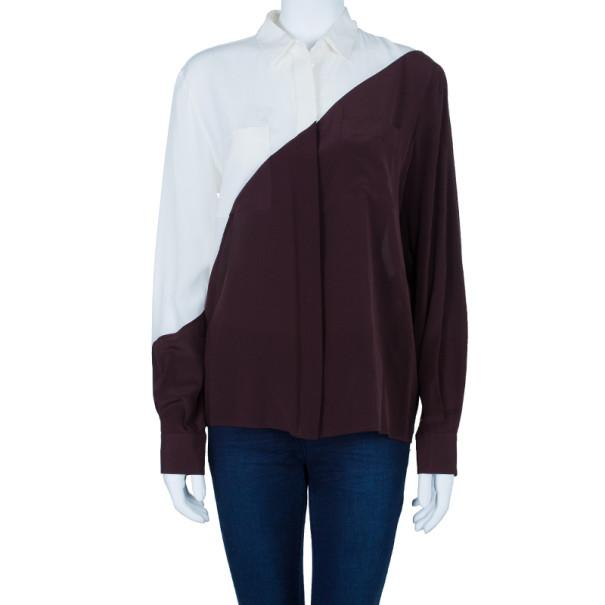 Fendi Two Tone Silk Button Down Shirt M