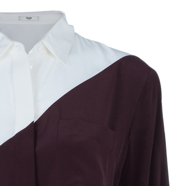 Fendi Two Tone Silk Button Down Shirt M