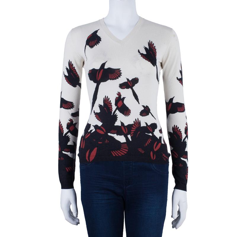 Alexander McQueen Bird Print Knit Sweater S