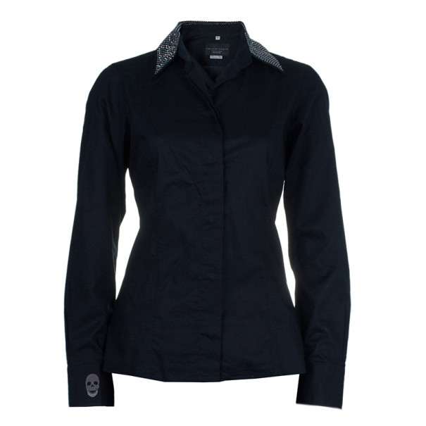 Philipp Plein Black Embellished Collar Shirt M