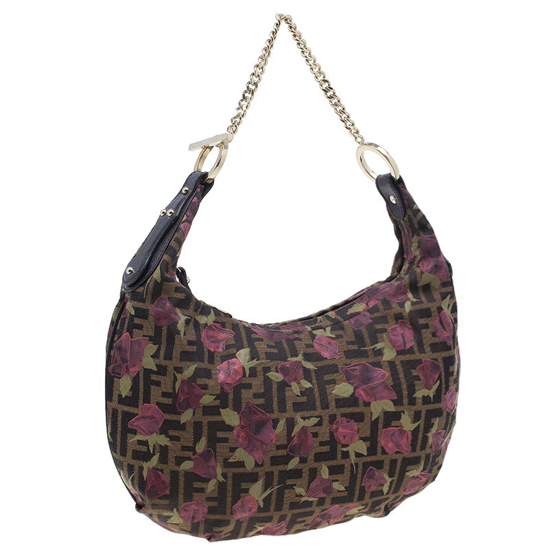 Fendi Brown Canvas Rose Print Zucca Chef Chain Hobo