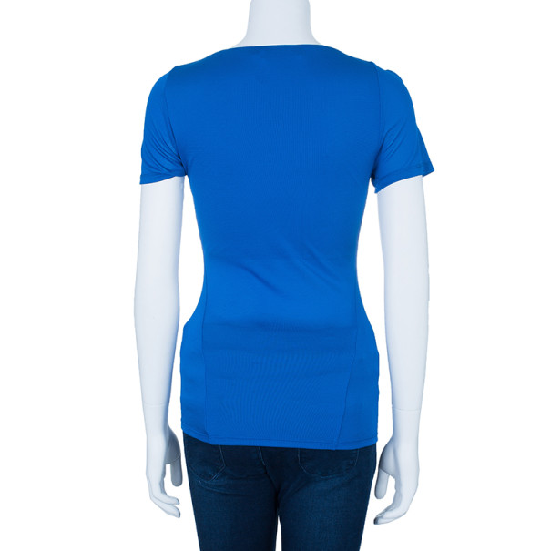 Roberto Cavalli Blue Stretch Jersey Top S