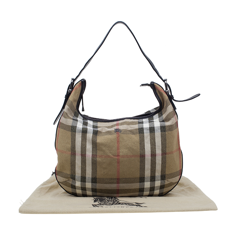 Burberry Gold Glitter Canvas Nova Check Hobo