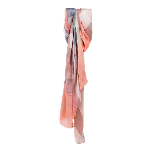 Burberry Pink and Black Novacheck Silk Stole