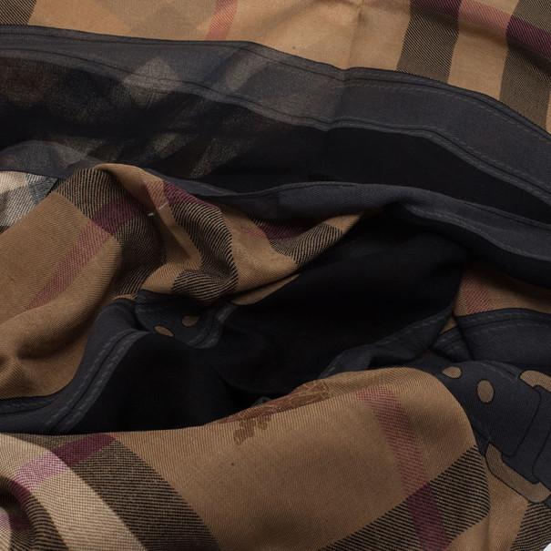 Burberry Novacheck Modal and Cashmere Black Stole