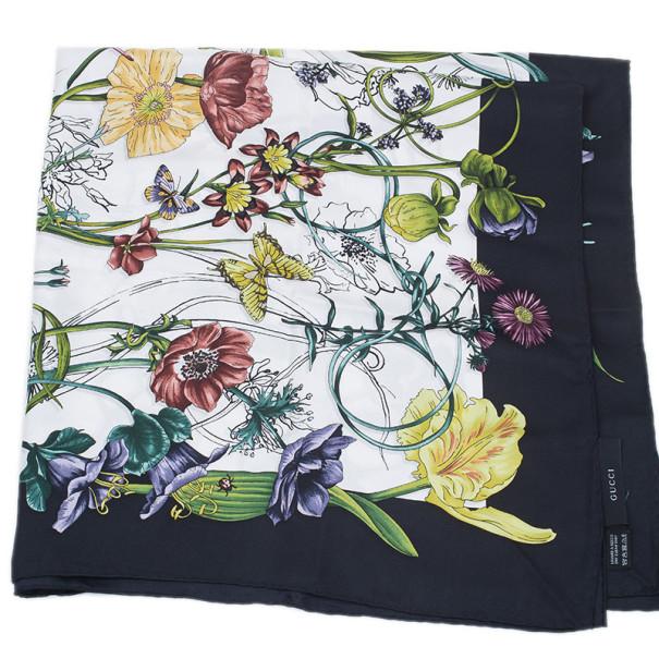 Gucci Black and White Silk Floral Square Scarf