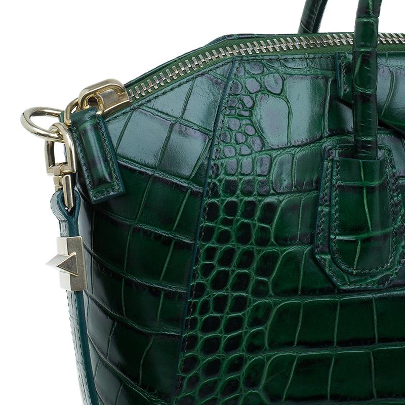 Givenchy Green Crocodile Leather Medium Antigona Satchel Bag