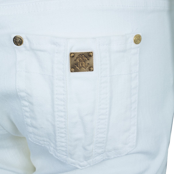 Roberto Cavalli White Flare Denim Pants M