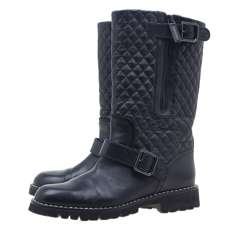Chanel Black Quilted Leather Double Buckle Flat Boots  Size 37.5