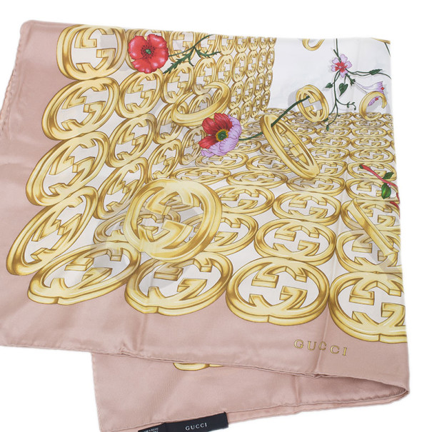 Gucci Beige Floral GG Square Scarf