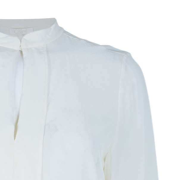 Chloe Off-White Silk Paneled Front Shirt S