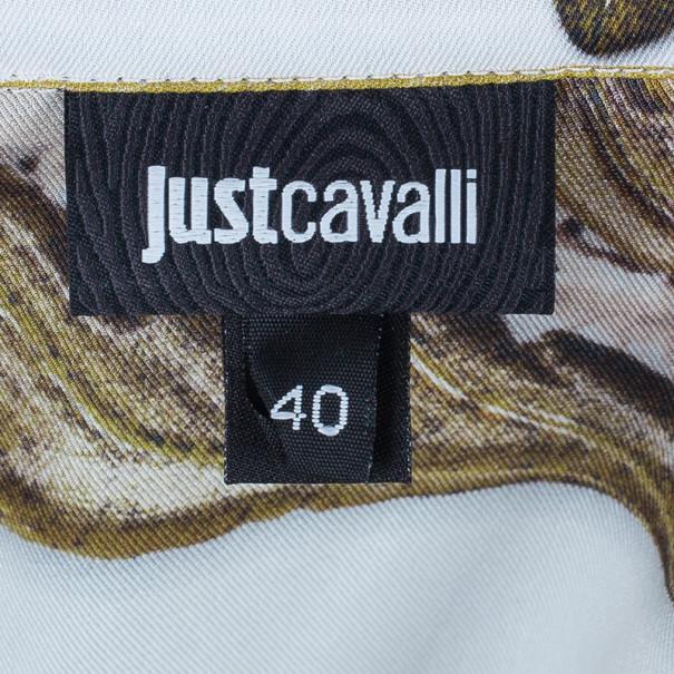 Just Cavalli Scarf Print Button Down Shirt S