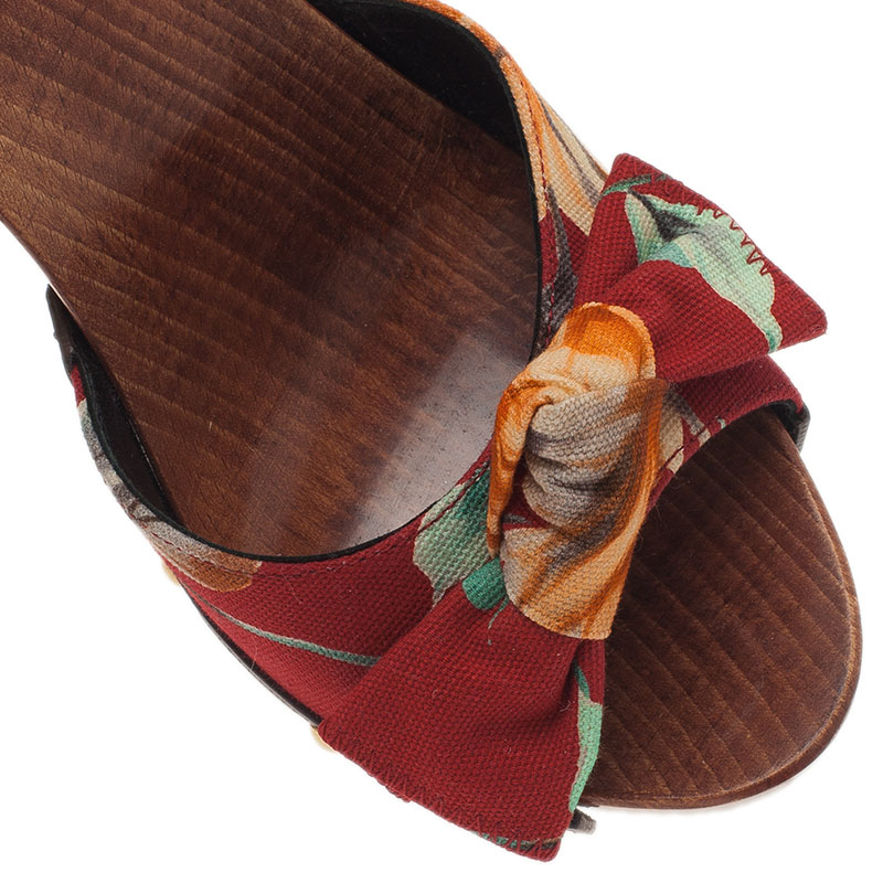 Dolce and Gabbana Red Floral Canvas Wooden Slides Size 37