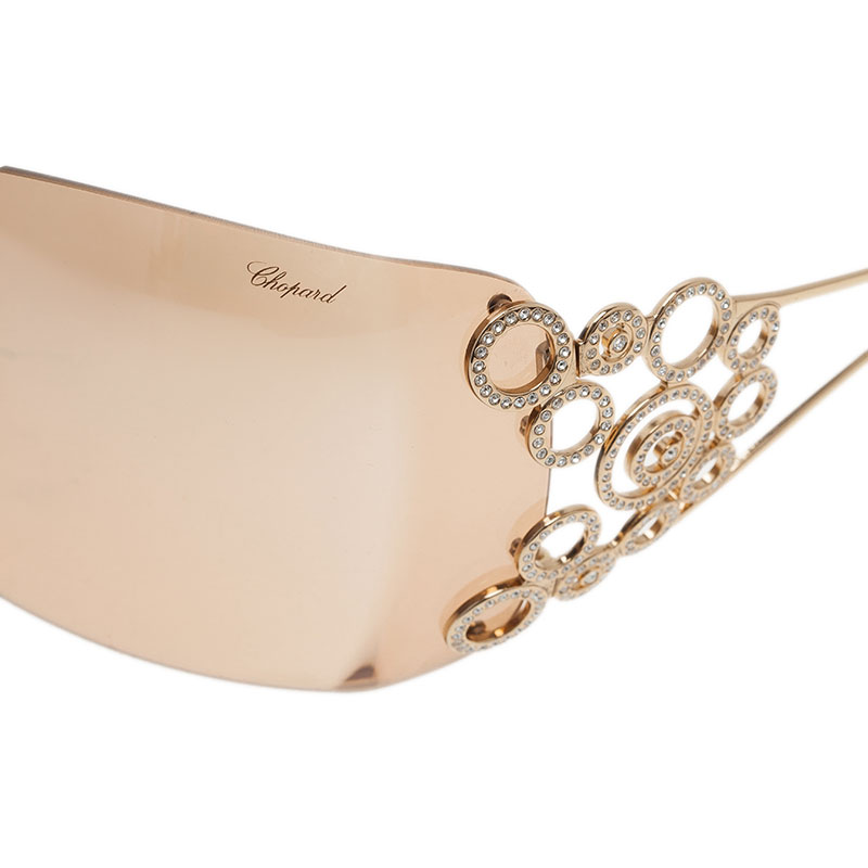 Chopard Maroon Gold Plated SCH 692S Shield Sunglasses