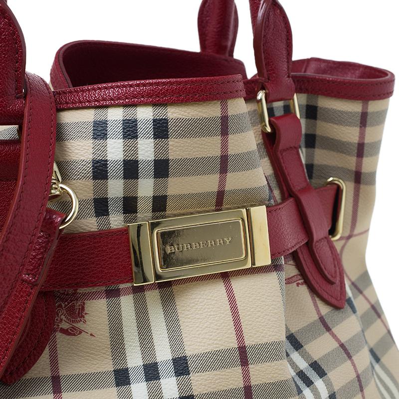 Burberry Beige/Red Haymarket Check Medium Goldertone Tote Bag