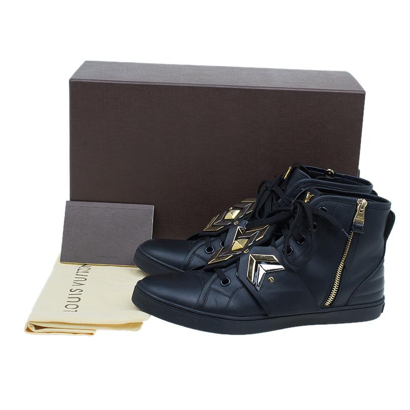 Louis Vuitton Black Leather Karakoram Pattern Punchy Sneaker Boots Size 41
