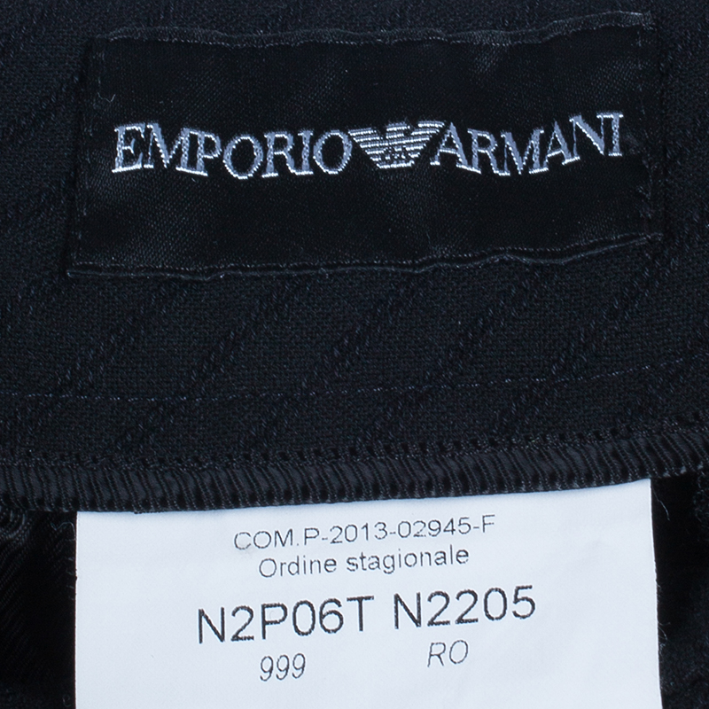 Emporio Armani Black Fine Striped Trousers M