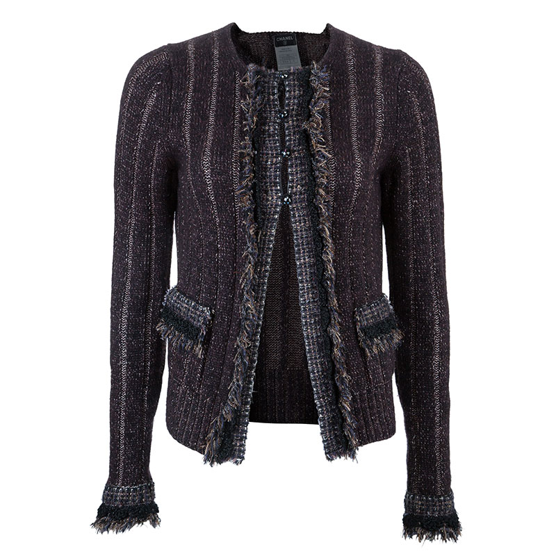 Chanel Plum Cashmere Knit Cardigan S