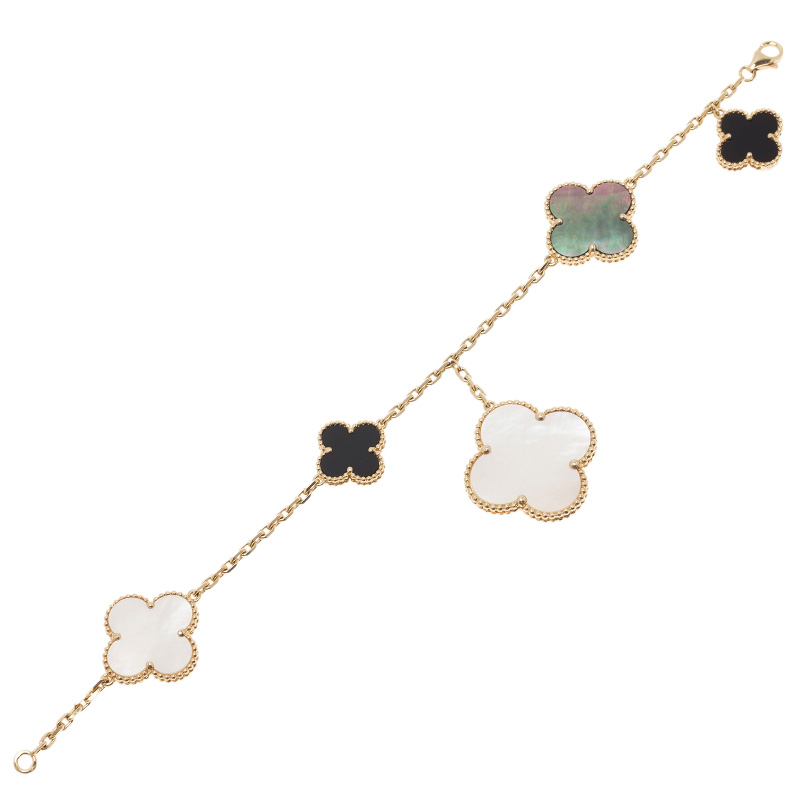 Van Cleef & Arpels Magic Alhambra Mother of Pearl and Onyx Yellow Gold Bracelet