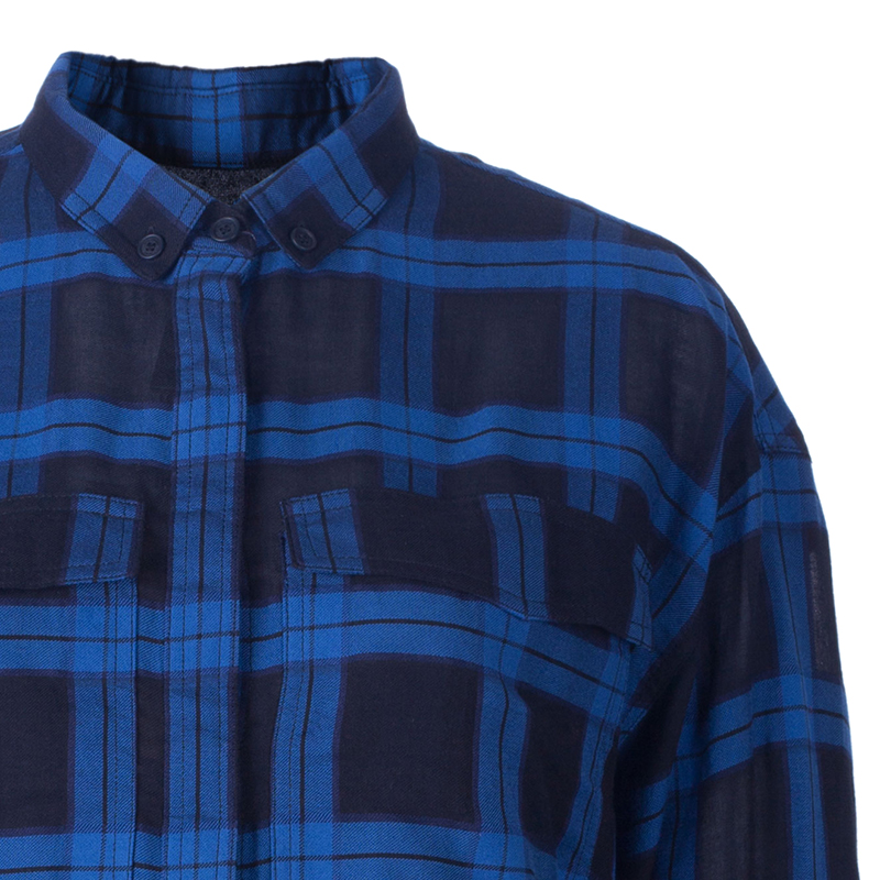 Burberry Blue/Black Check Cotton Shirt L