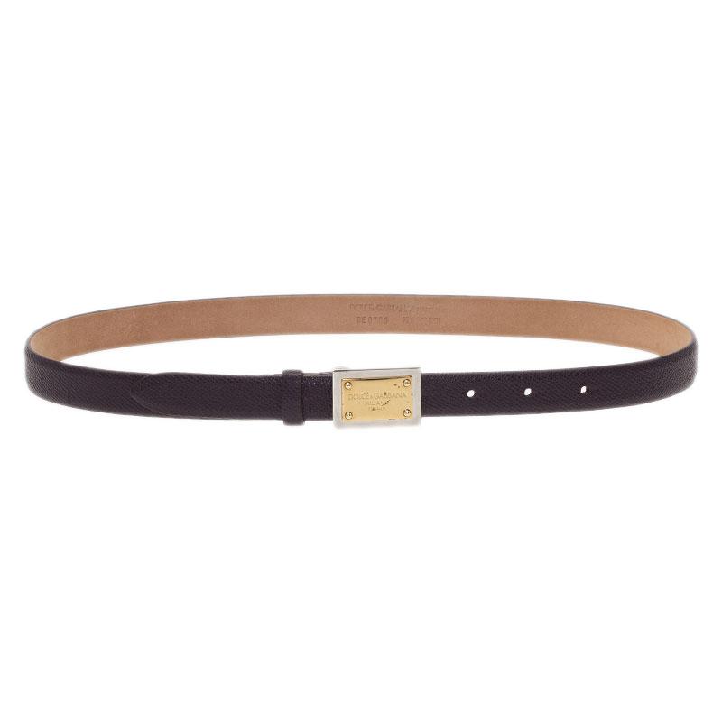 Dolce and Gabbana Burgundy Leather Logo Plaque Skinny Belt 75CM