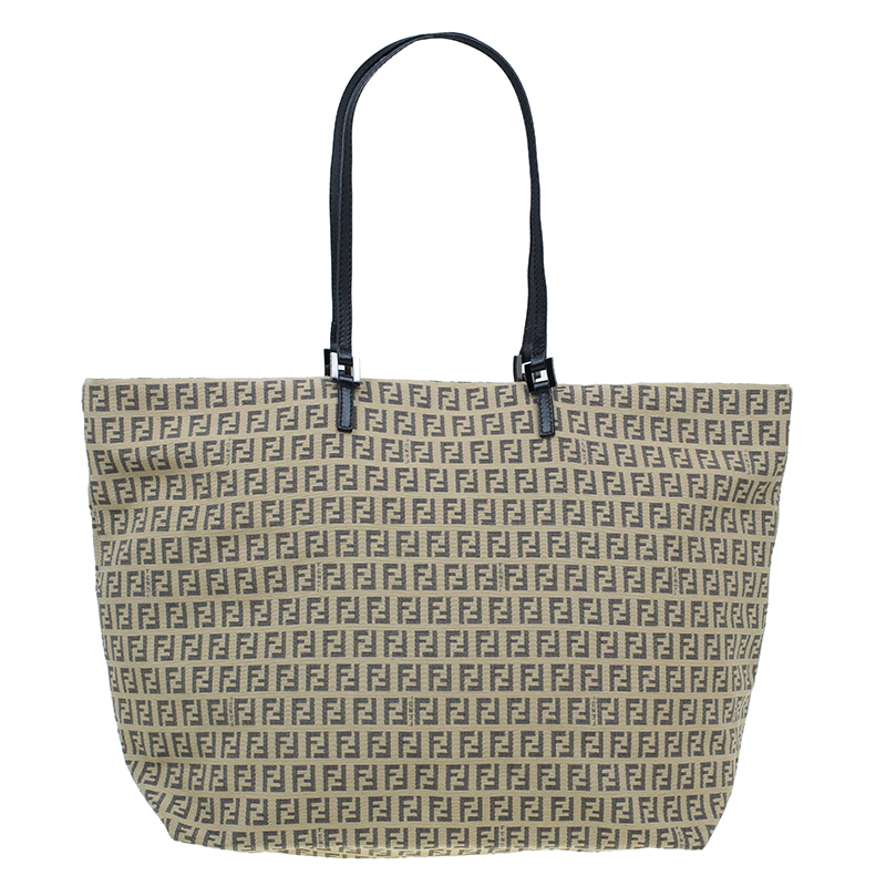 Fendi Beige and black Zucchino Roll Tote Shopper bag