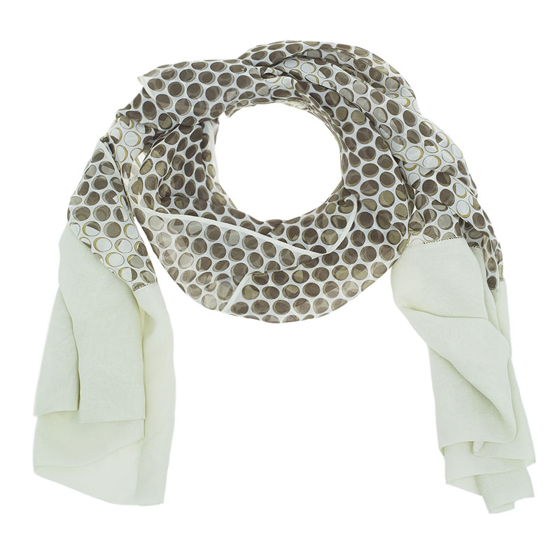 Chanel Brown and White Printed Silk Logo Scarf