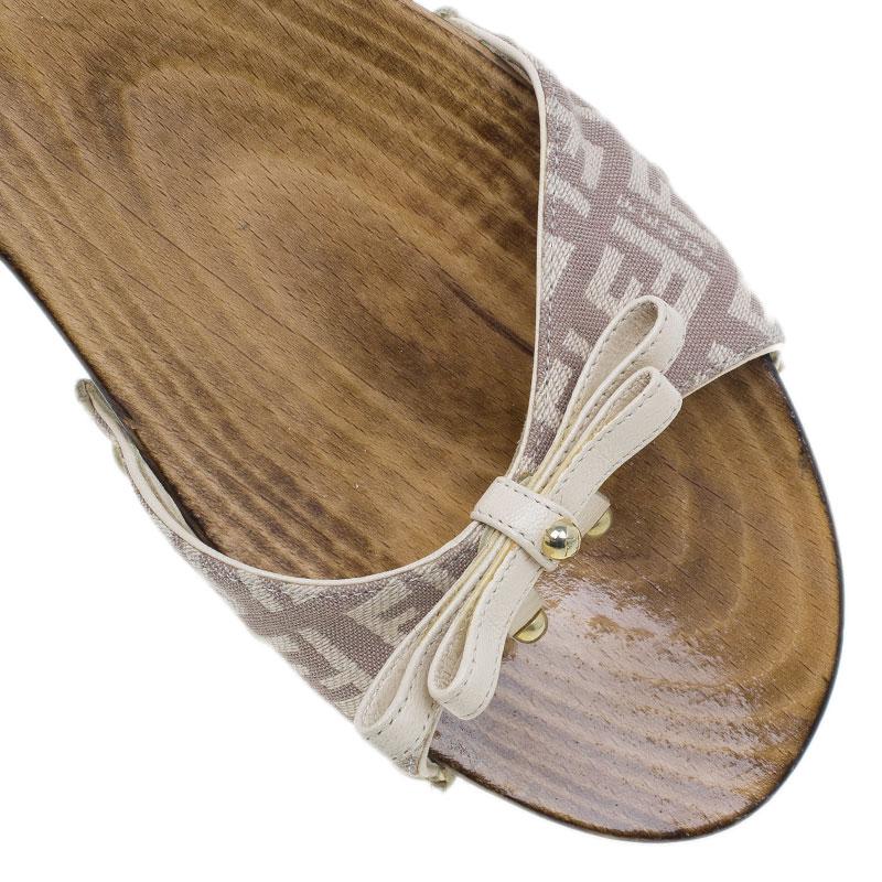 Fendi Zucchino Canvas Bow Wooden Slides Size 37.5