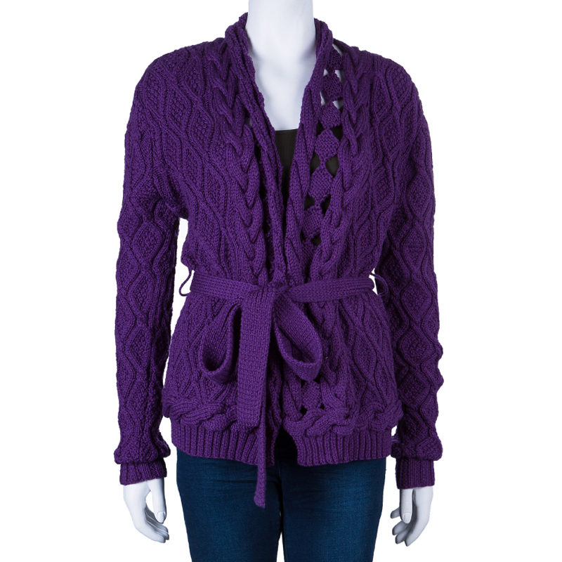Oscar De La Renta Purple Cable Knit Wool Cardigan L