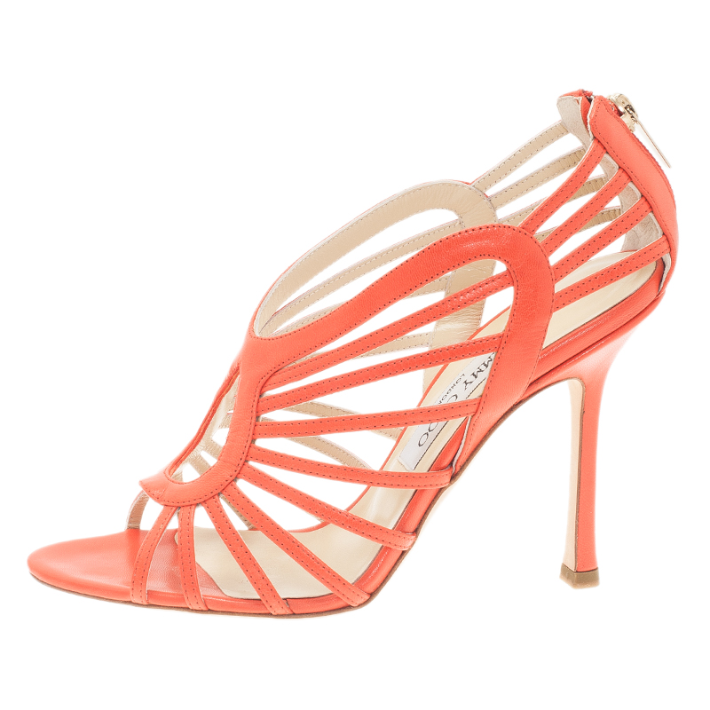 Jimmy Choo Orange Leather Samoa Kid Sandals Size 38