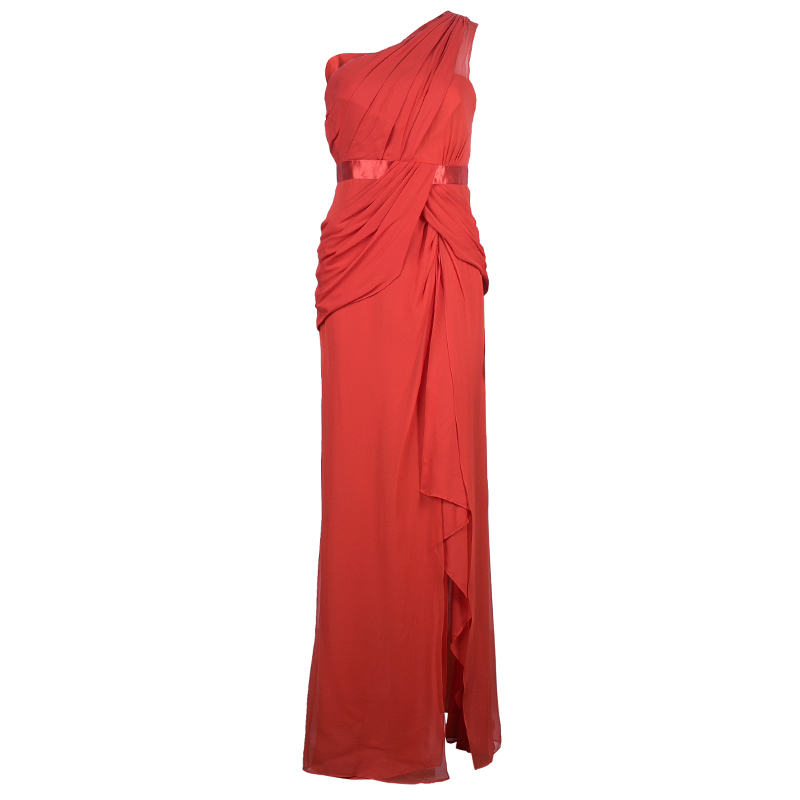 Notte By Marchesa One Shoulder Drape Chiffon Gown M