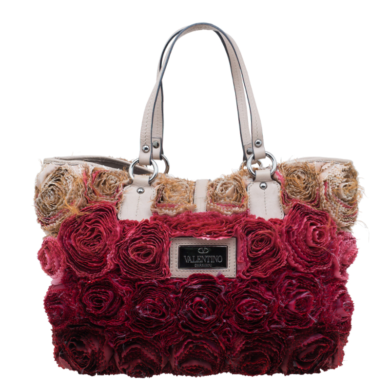 Valentino Red/Beige Silk and Leather Rosier Tote Bag