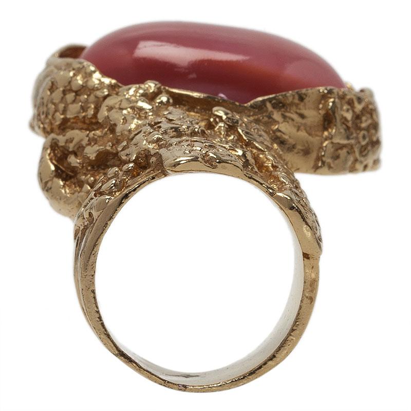 Saint Laurent Paris Arty Pink Gold Tone Ring Size 52
