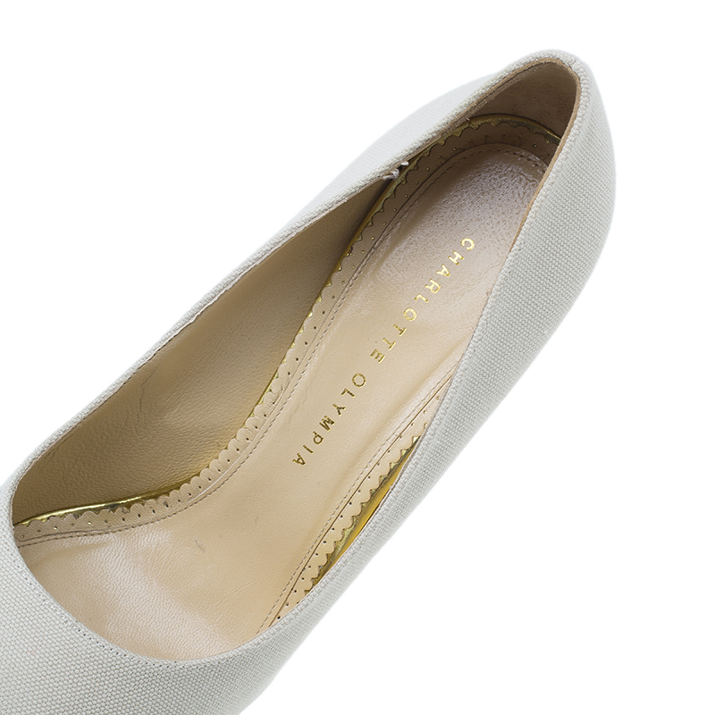 Charlotte Olympia Cream Canvas Dolly Platform Pumps Size 42