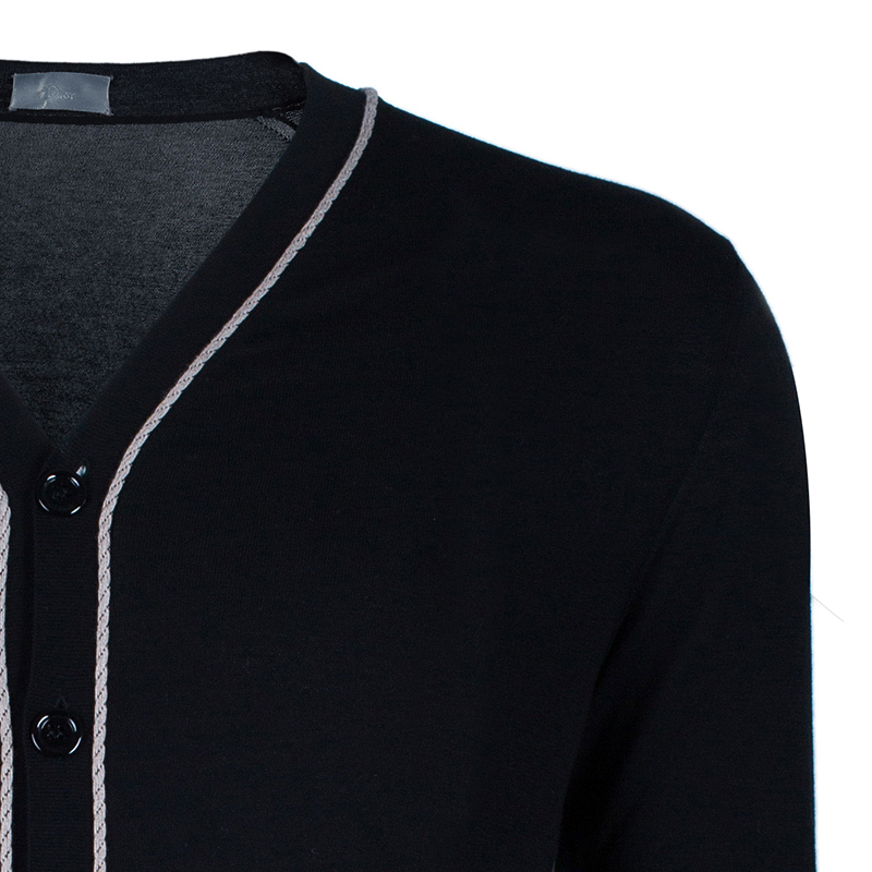 Dior Men's Black Contrast Piping Cardigan M