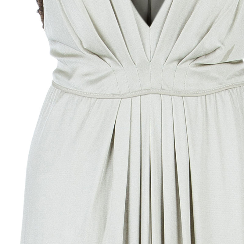 Alberta Ferretti Beige Embellished Maxi Dress M
