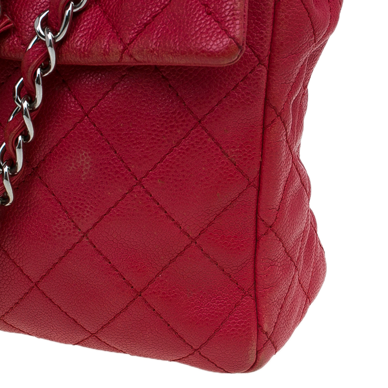 Chanel Red Washed Caviar Leather Maxi Jumbo XL Classic Flap Bag
