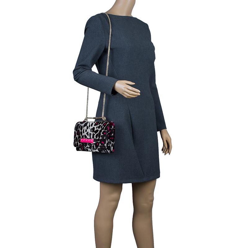 Valentino Pink Leopard Print Pony Hair Rockstud Va Va Voom Shoulder Bag