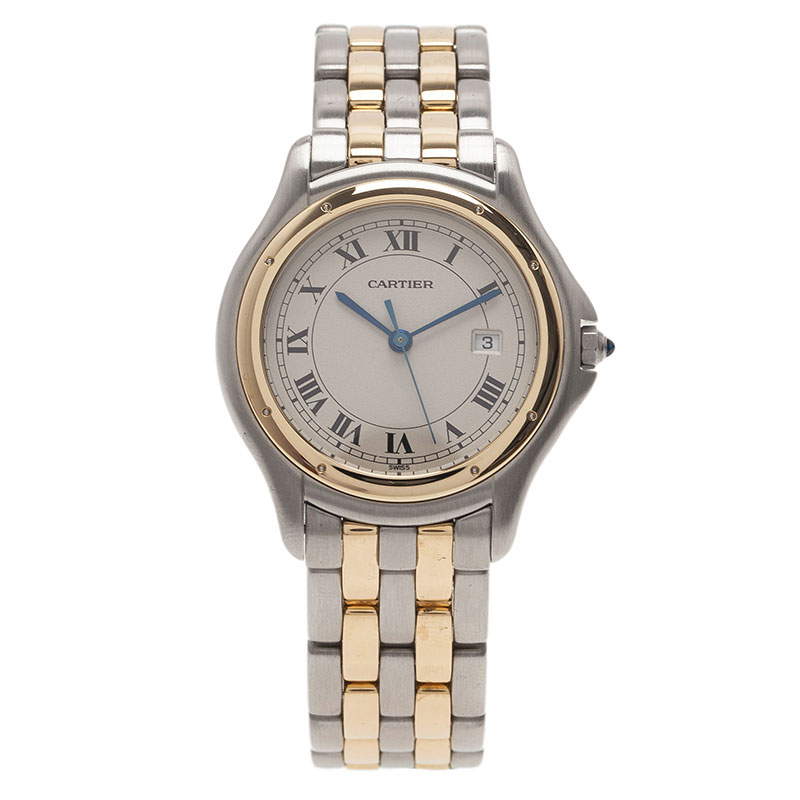 Cartier Ivory Stainless Steel and Yellow Gold Panthere Women's Wristwatch 33MM
