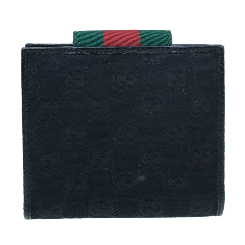 Gucci Black Monogram Canvas Gucci Script Logo Wallet